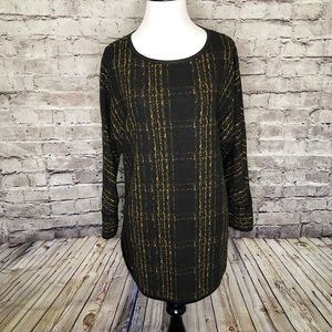 Ali Miles Faux Leather Trim Tunic Sweater Small